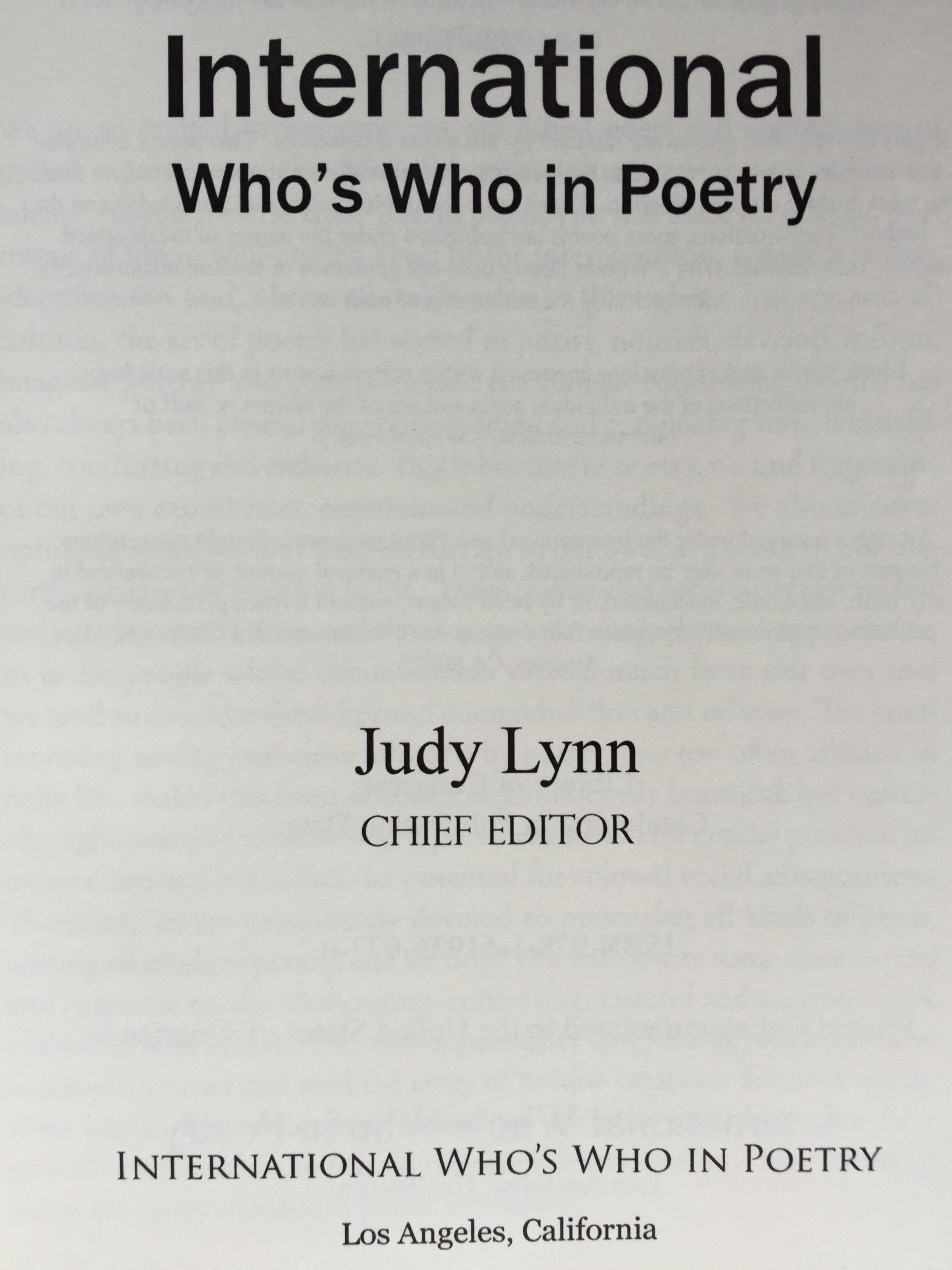 title page  International Who's Who in Poetry 2012