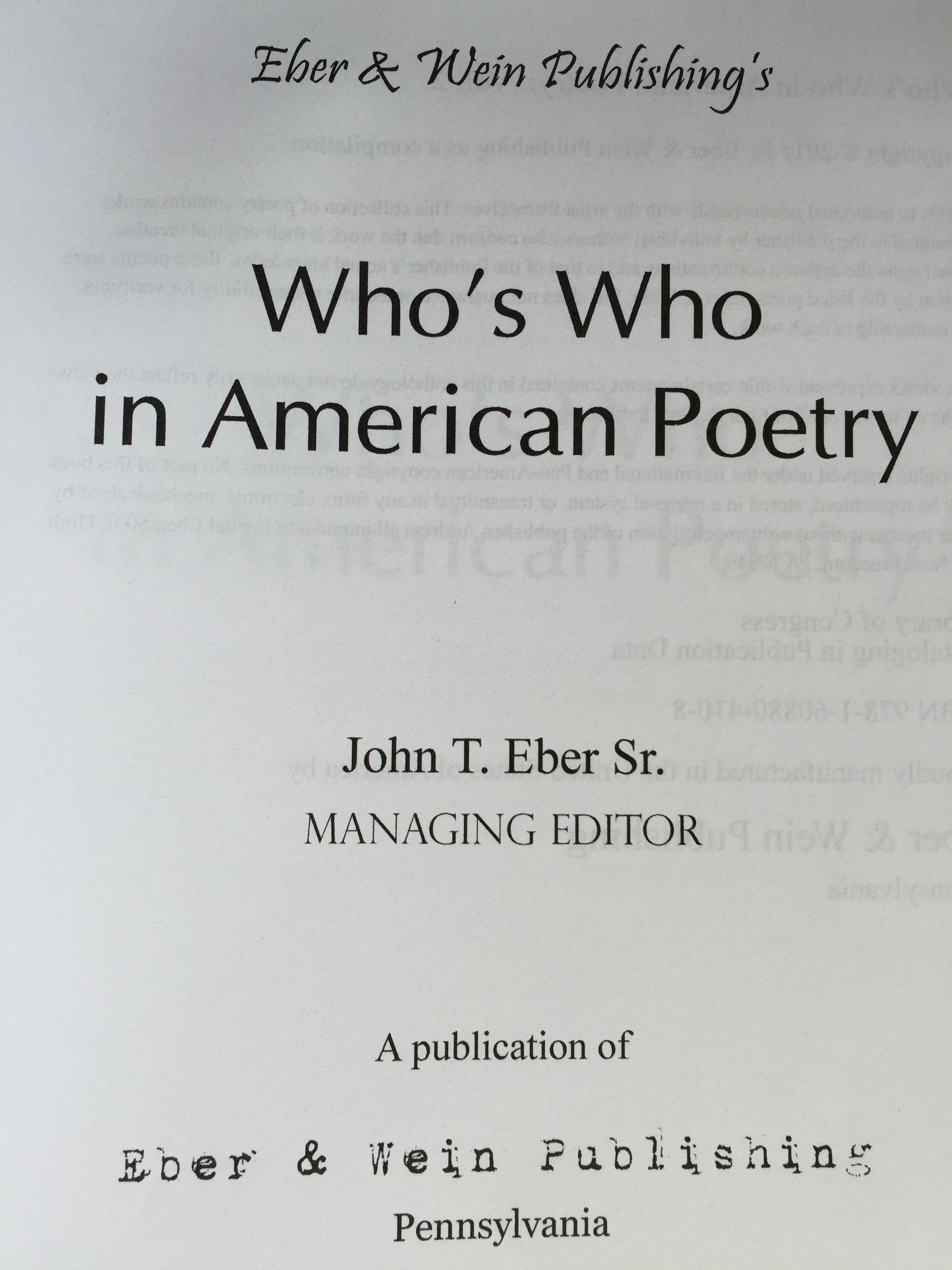 title page  Who's Who in American Poetry 2014