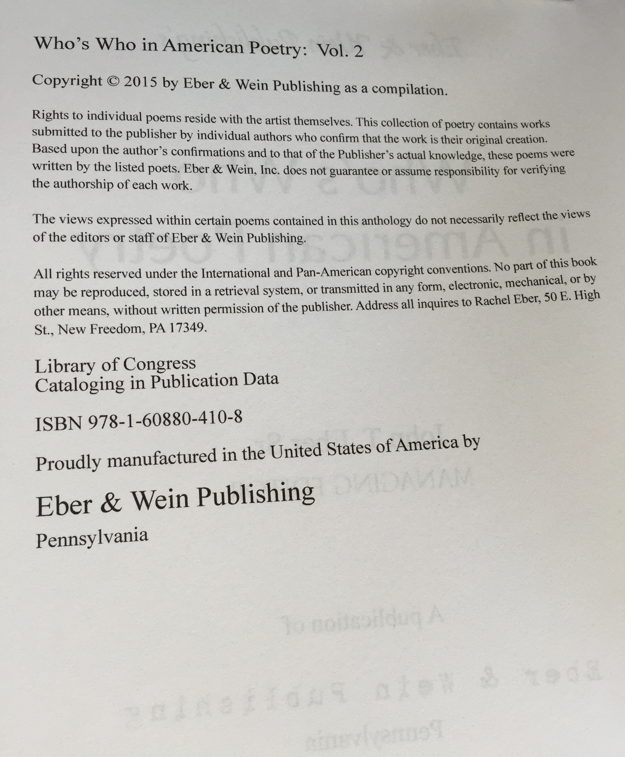 publishing details Who's Who in American Poetry2014